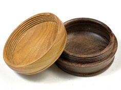 LV-3594  Osage Orange & Mora Flat Pill Box, Ring Holder, Jewelry Box-SCREW CAP