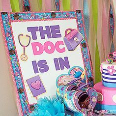 """""""The doc is in"""" with this DIY welcome sign! Take a white poster board and make it """"all better"""" with a few Doc McStuffins stickers, cutouts & streamer border! Click for this & more party ideas!"""