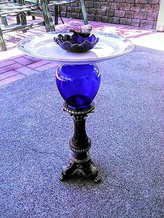 wonderful blue deco birdbath. plate, vase, and candleholder repurposed-by YardGypsy