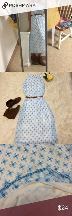 Cute Patterned Midi Dress A size small, white dress with a baby blue pattern. Very flowy and excellent for the summer time. Looks really cute with a pair of heels. The top layer is shear, but there is a white layer underneath. Does not come with the belt Old Navy Dresses Midi