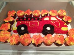 Fire truck cake and flaming fire cupcakes