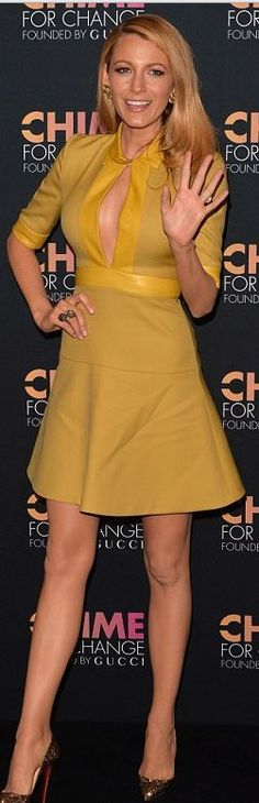 blake lively  Who made  Blake Livelys yellow dress and crystal pumps that she wore in New York on June 3, 2014?