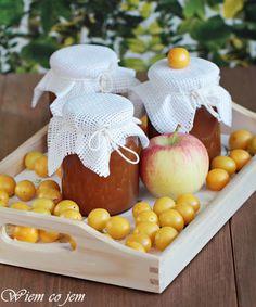 Marmolada z jabłek i mirabelek Preserves, Pantry, Cooking Recipes, Eggs, Jar, Cheese, Breakfast, Pantry Room, Morning Coffee