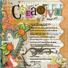 Prompt #1 Journal Your Best Advice for Creativity, page by Heather aka sparklyduck75 ...Create a page writing about your thoughts. Link up your page here in the comments section of this post.