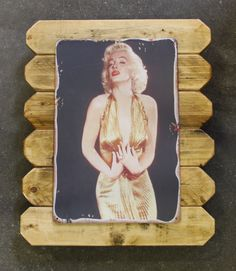 Marilyn Monroe Retro Metal Poster Framed in Distressed Pinewood by ArtMaxAntiques on Etsy