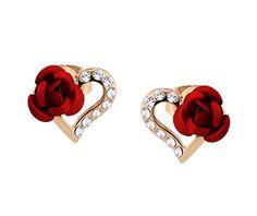 Yoursfs Boucles d'oreilles femme rouge clous Or plaqué Pendantes en Cristal Coeur et Rose Idée Cadeau de Noël Mariage Anniversaire