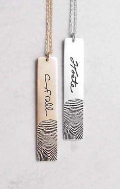 Actual Fingerprints Bar Necklace