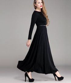 Winter Thicken Newly Slim Round Collar Knit Dress Rose Black