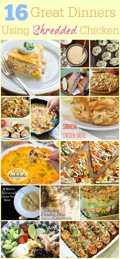 16 Shredded Chicken Recipes -- 16 Great Dinners Using Shredded Chicken | Chicken Dinner | Ideas using shredded chicken | Rotisserie chicken ideas