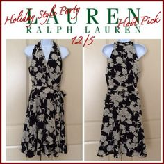 """HP 12/5Lauren by Ralph Lauren Silk Dress A flattering halter eases into crossover bodice which eases into a beautiful full skirt. Silk design In floral print - black ivy. Halter neck, crossover v neckline, sash ties at waist., asymmetrical hemline. 100% silk. Lining: 100% polyester. Measurements approx: armpit to armpit from back - 18"""" across, length from the back center - top to bottom 42"""" Ralph Lauren Dresses"""