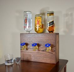 3 Bottle Wood Liquor Dispenser by NomadWoodworkingShop on Etsy