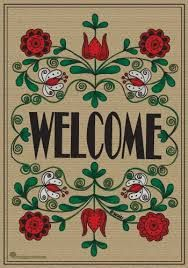 SnapDragon Flag - Welcome Burlap Decorative Flag at Garden House Flags Welcome Images, Flag Art, Flag Decor, Decoupage Paper, House Flags, Garden Flags, Burlap, Folk, Projects To Try