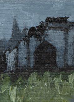 ACEO ORIGINAL Dark Gothic Art Abandoned Graveyard Landscape Painting Miniature
