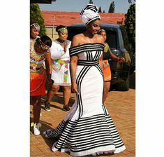 Gugu Mbatha In Beautiful Strapless Xhosa Umbhaco Mermaid Dress and Doek African Wedding Attire, African Attire, African Dress, African Print Fashion, African Fashion Dresses, African Prints, South African Traditional Dresses, Xhosa Attire, Traditional Wedding Attire