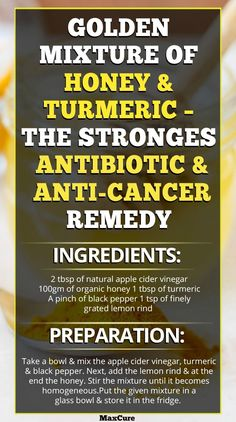 Golden Mixture Of Honey And Turmeric – The Strongest Antibiotic And Anti-Cancer Remedy http://www.ebay.com/itm/Curcumin-Blend-60-Count-/322482882728