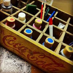 Using a vintage Coca-Cola crate for painting/crafting organization    Keeping Up With the Joneses