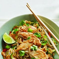 Chilled Peanut Noodle Chicken Salad #recipe