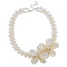 Three Rows Of Pearl Two Shell Flower Beaded Necklace