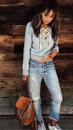 knit ripped boyfriend jeans spring style moda pinterest r schen fr hlings stil und l ssig. Black Bedroom Furniture Sets. Home Design Ideas