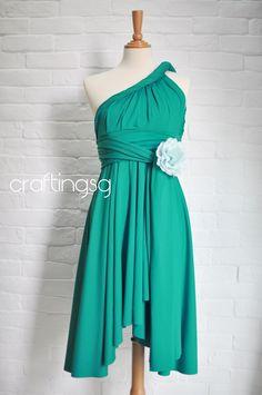 Bridesmaid Dress Infinity Dress Emerald Green Knee by craftingsg, $35.00
