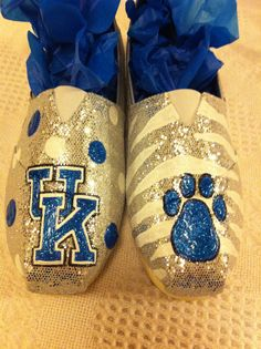 Silver sparkly & blue University of Kentucky (UK) Wildcat shoes hand painted slip on. GO CATS on Etsy, $50.00