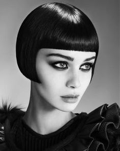 A Short Black straight bob iconic defined-fringe shortfringe womens haircut hairstyle by Barrons Hairdressing