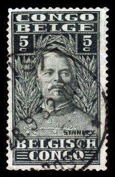 Sir Henry Morton Stanley,  journalist and explorer. Belgisch Congo stamp, circa 1928