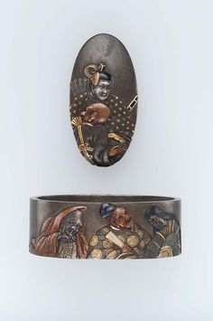 Fuchi-kashira with designs of the Six Immortals of Poetry (Rokkasen) Edo period Late 18th–early 19th century - Hamano Naoyuki (Japanese, born in 1754) http://www.mfa.org/collections/object/fuchi-kashira-with-designs-of-the-six-immortals-of-poetry-rokkasen-12463