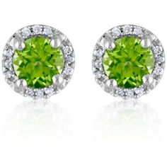Belk  Co. Green Sterling Silver Peridot And Diamond Stud Earrings ($120) ❤ liked on Polyvore featuring jewelry, earrings, green, green earrings, round stud earrings, sterling silver diamond earrings, round diamond earrings and diamond stud earrings