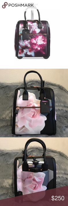 """Ted Baker Black Odina Porcelain Travel Bag Zip-around closure. Top carry handles; telescoping handle. Exterior zip pocket. Interior zip and wall pockets. Lined. Polyester with polyurethane trim. This bag meets most international and domestic carry-on size requirements. 14""""W x 15 ½""""H x 7""""D. 7"""" strap drop. 4.0 lbs. Bag is new and has been sitting on my closet but when I was taking pics, saw that there's a scratch on the bottom, so may have some minor wear. Interior is clean! Please let me know…"""
