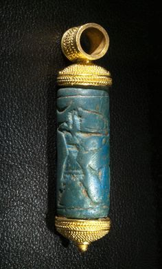 *EGYPT~ A rare Egyptian Blue Cylinder Seal, Mittanian ca 1500 - 1300 BCKingdom of Mittanni 1400 BC. Cylinder seal.