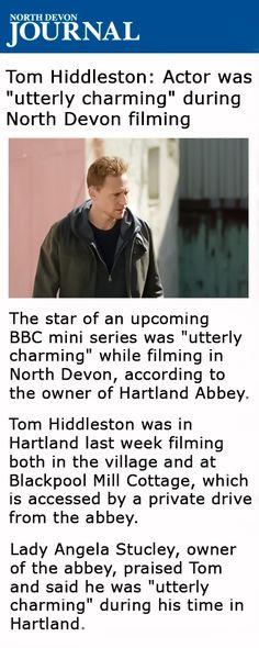 """North Devon Journal: Tom Hiddleston: Actor was """"utterly charming"""" during North Devon filming. Link: http://www.northdevonjournal.co.uk/Tom-Hiddeston-Actor-perfectly-charming2-North/story-26379268-detail/story.html"""