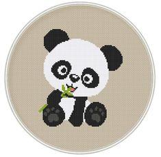 Cross stitch pattern, Cute panda bear