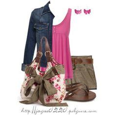"""""""Floral Handbag, Denim and Pink"""""""