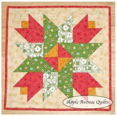Tulip Block. Free PDF download pattern for traditionally pieced block.