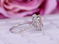 $799 Shop unique items forOval Morganite Engagement Ring Pave Diamond Wedding 14K White Gold at LOGR - Online Custom Fine Jewelry Since 1999. Super quality, unbeatable price, FREE shipping, and 30-day return.
