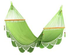 Light Green Hammock, Handwoven Nicaraguan Hammock. $75.00, via Etsy.  This is so beautiful!  I doubt if I could buy the cotton yarn for less than 75 dollars.