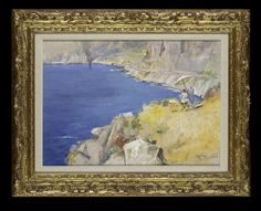 GIUSEPPE CASCIARO (1863 - 1941) Landscape in Capri, with a Woman Painting Above a Bay Pastel, over an underdrawing in pencil.