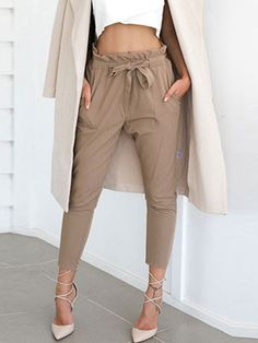 Pants Solid Skinny Casual Polyester Neutral Mid Waist Elastic Waist Pockets Fall Winter Women's General S M L XL Pants & Leggings Black Trousers, Cropped Trousers, Style Sarouel, Formal Casual, Women's Casual, Casual Outfits, Paper Bag Waist Pants, Pants For Women, Clothes For Women
