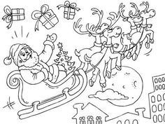 santa and his flying reindeer more free christmas coloring pages here