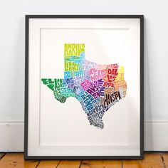 Texas art print, Texas map art, Texas typography map, map of Texas, Texas cities map art, Texas wall art decor, choose color & size