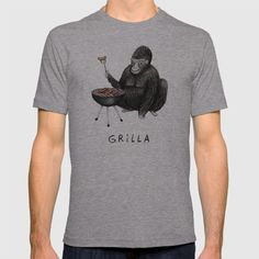 Grilla T-shirt by sophiecorrigan Funny Fathers Day, Boutique, Mens Tops, T Shirt, Stuff To Buy, Mountains, Fashion, Supreme T Shirt, Moda