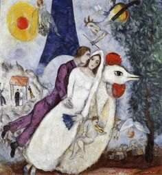 Marc Chagall Bridal Couple with Eiffel Spride print for sale. Shop for Marc Chagall Bridal Couple with Eiffel Spride painting and frame at discount price, ships in 24 hours. Cheap price prints end soon. Marc Chagall, Artist Chagall, Chagall Paintings, Chagall Prints, Matisse Paintings, Paintings Famous, Indian Paintings, Centre Pompidou Paris, Painting Prints