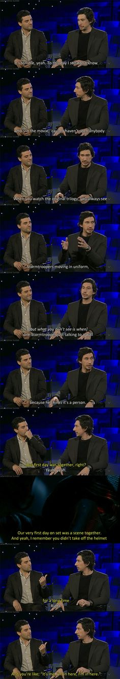 Adam Driver and Oscar Isaac on Conan 12.17.2015. This is adorable, I love them both
