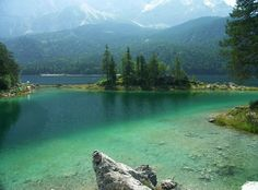 Lake Eibsee (at the foot of the Zugspitze Mountain - the highest Mountain in Germany), Bavaria, Germany