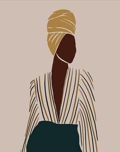 Black Girl Art, Black Women Art, Art Girl, Black Art Painting, Abstract Line Art, Magic Art, Face Art, Art Inspo, Illustration Art