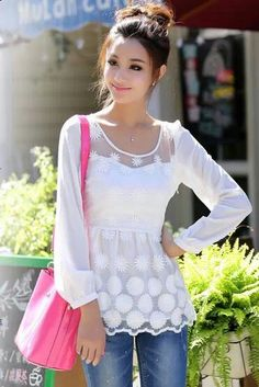 Elegant long sleeves lace blouse – New York Fashion New Trends Stylish Outfits, Cool Outfits, Shirt Bluse, Beautiful Blouses, Lace Tops, Spring Summer Fashion, Elegant, My Style, Womens Fashion