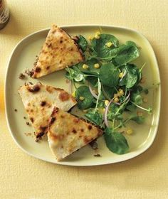 Beef Quesadillas With Watercress and Corn Salad - What I made for dinner tonight. Real Simple's Beef Quesadillas with Watercress and Corn Salad. Mexican Dishes, Mexican Food Recipes, Beef Recipes, Spanish Recipes, Corn Salad Recipes, Corn Salads, Appetizer Recipes, Dinner Recipes, Appetizers