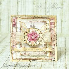For Mum - Scrapbook.com - Gorgeous layers and details on this beautiful mother's day card  using Prima supplies.