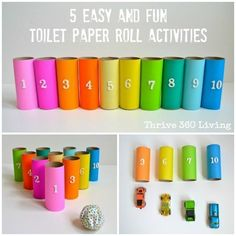 Thrive 360 Living: Five Easy and Fun Toilet Paper Roll Kid Activities. Double sided sticky tape, origami papers (or paint) toilet paper rolls, imagination and you're on your way to five for childrens learning fun! Craft Activities For Kids, Preschool Activities, Projects For Kids, Diy For Kids, Crafts For Kids, Craft Ideas, Number Activities, Counting Activities, Pot A Crayon